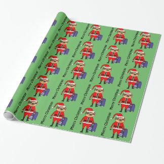 Funny Sloth Santa Claus Christmas Cartoon Wrapping Paper