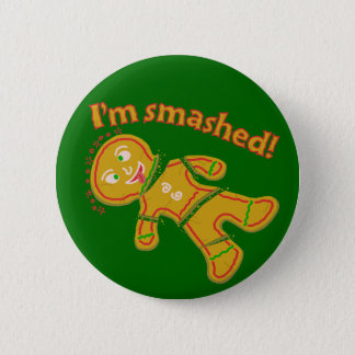Funny Smashed Gingerbread Christmas 6 Cm Round Badge