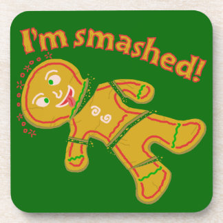 Funny Smashed Gingerbread Christmas Beverage Coasters