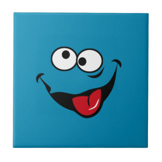 Funny smiley face cartoon blue background small square tile