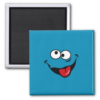 Funny smiley face cartoon blue background square magnet