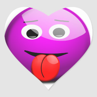 Funny Smiley face Heart Stickers