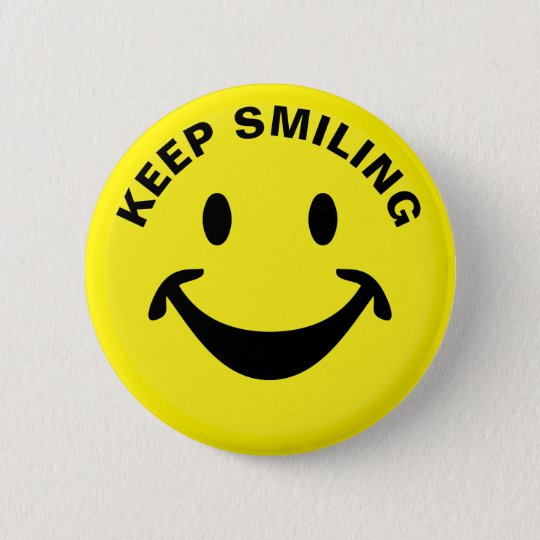 Funny Smiley face + your backg. & ideas 6 Cm Round Badge