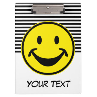 Funny Smiley yellow & stripes + your backg. & idea Clipboard