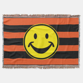 Funny Smiley yellow & stripes + your backg. & idea Throw Blanket