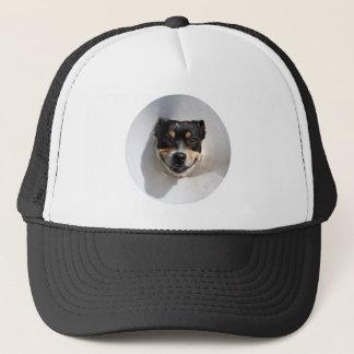Funny smiling dog trucker hat