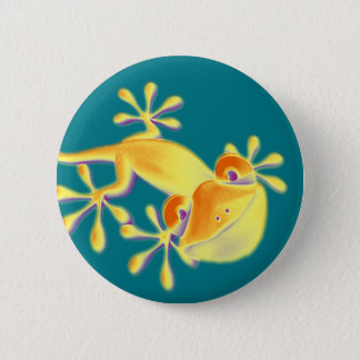 Funny Smiling Gecko + your background & ideas 6 Cm Round Badge