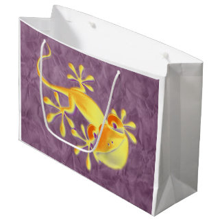 Funny Smiling Gecko + your background & ideas Large Gift Bag