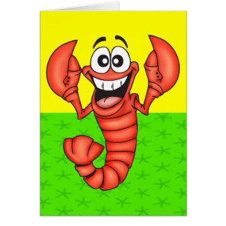 Funny Smiling Lobster Note Card