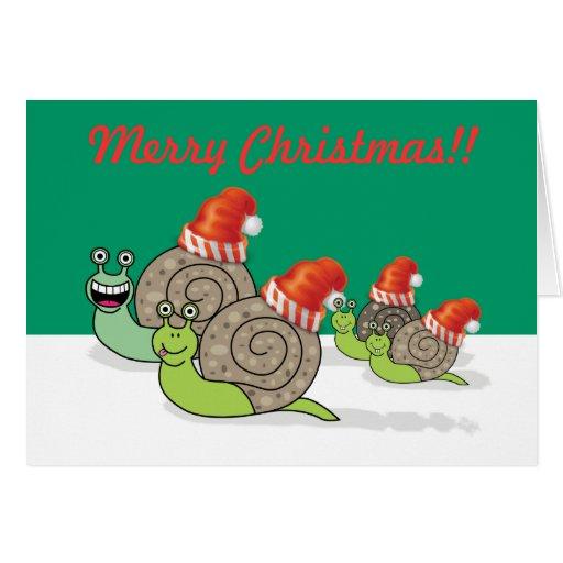 Funny Snail Family Christmas Card