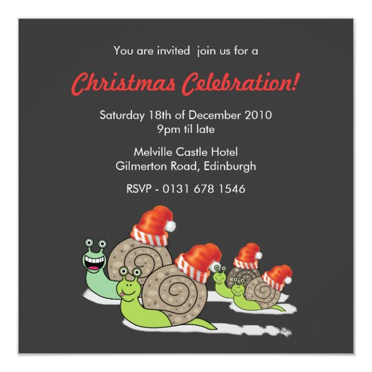 Funny Snails Christmas Party Invitation