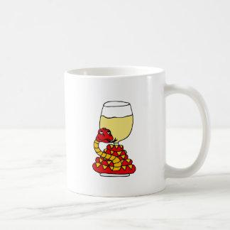Funny Snake Coiled Around White Wine Glass Basic White Mug