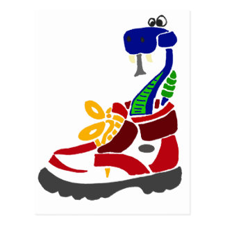 Funny Snake in Hiking Boot Postcard
