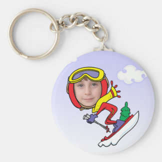 Funny Snow Skier Photo Face Template Basic Round Button Key Ring