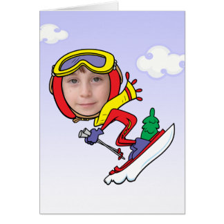 Funny Snow Skier Photo Face Template Greeting Card