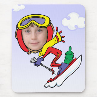 Funny Snow Skier Photo Face Template Mouse Pad