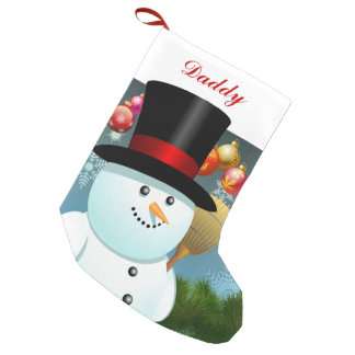 Funny Snowman Dad With Black Felt Top Hat Small Christmas Stocking