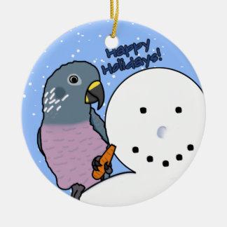 Funny Snowman Dusky Pionus Ornament