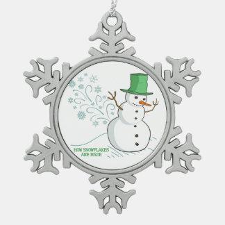 Funny Snowman Farts Snowflakes Pewter Snowflake Decoration