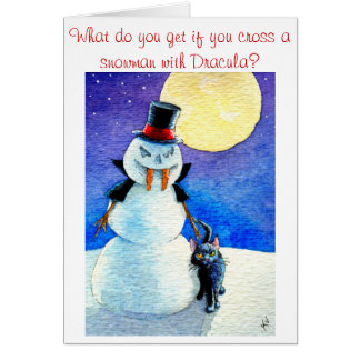 Funny Snowman Halloween Christmas winter card