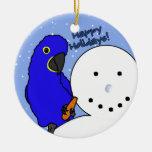 Funny Snowman Hyacinth Macaw Ornament