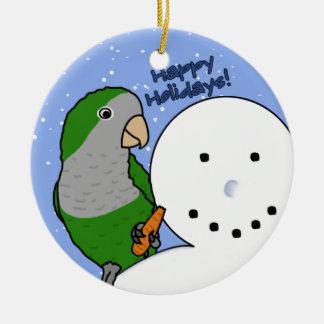 Funny Snowman Quaker Parakeet Ornament