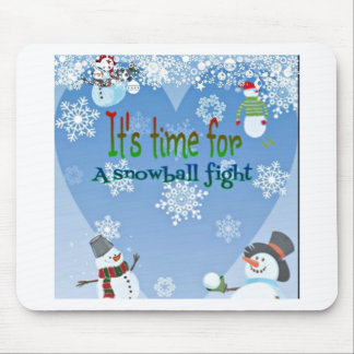 Funny Snowman Snowball Fight Christmas gifts Mousepad