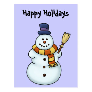 funny snowman winter holiday postcard