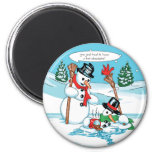 Funny Snowman with Hot Chocolate Cartoon