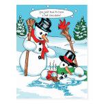 Funny Snowman with Hot Chocolate Cartoon