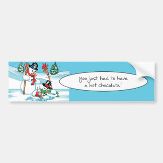 Funny Snowman with Hot Chocolate Cartoon Bumper Sticker