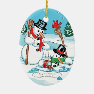 Funny Snowman with Hot Chocolate Cartoon Christmas Ornament