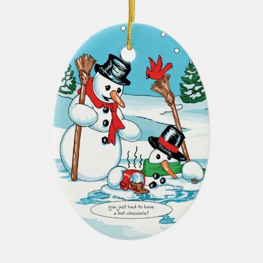 Funny Snowman with Hot Chocolate Cartoon Christmas Ornament