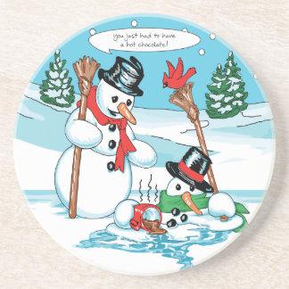 Funny Snowman with Hot Chocolate Cartoon Coaster