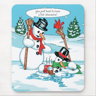 Funny Snowman with Hot Chocolate Cartoon Mouse Mat