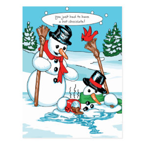 Funny Snowman with Hot Chocolate Cartoon Postcard