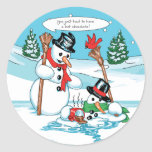 Funny Snowman with Hot Chocolate Cartoon Round Sticker