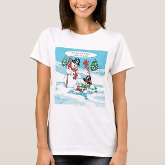 Funny Snowman with Hot Chocolate Cartoon T-Shirt
