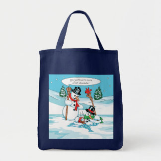 Funny Snowman with Hot Chocolate Cartoon Tote Bag