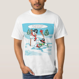 Funny Snowman with Hot Chocolate Cartoon Tshirt