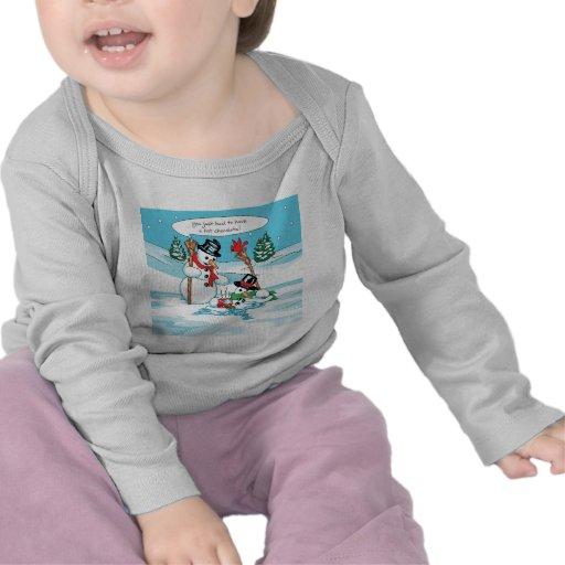 Funny Snowman with Hot Chocolate Cartoon Shirts
