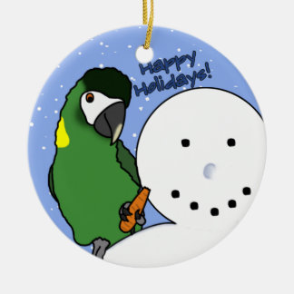 Funny Snowman Yellow Collared Macaw Ornament