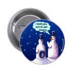 Funny Snowmen Cartoon Badge