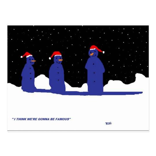FUNNY SNOWMEN CHRISTMAS POSTCARD