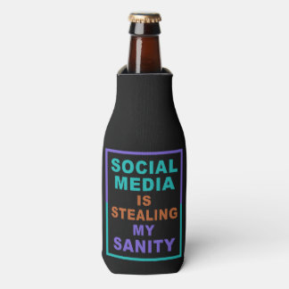 "Funny ""Social Media"" custom monogram bottle cooler"