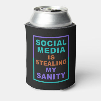 "Funny ""Social Media"" custom monogram can cooler"