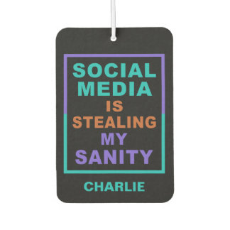 "Funny ""Social Media"" custom name air freshner Car Air Freshener"