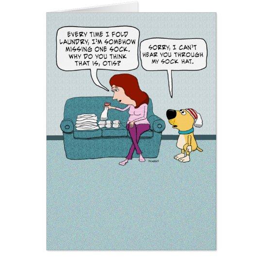 Funny Sock Hat Dog Birthday Card