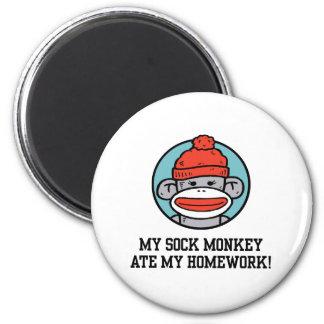 Funny Sock Monkey 6 Cm Round Magnet
