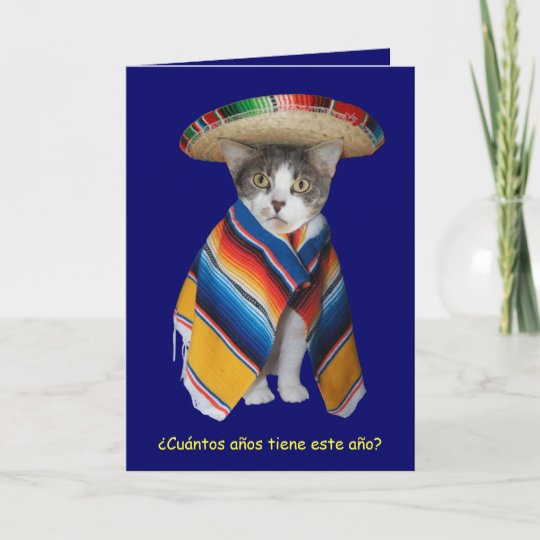 Funny Spanish Cat Kitty Birthday Card